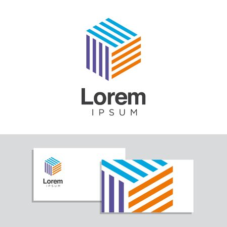 Vector graphic design elements with business card template. Illustration