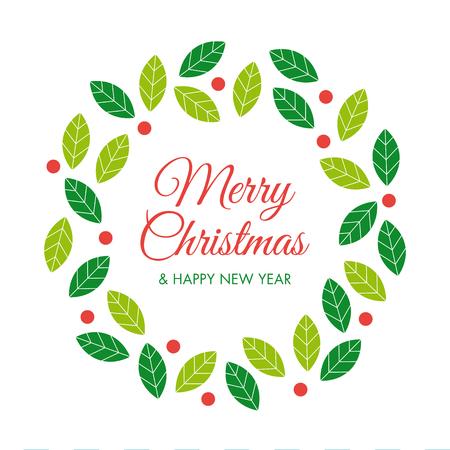 tarjeta de invitacion: Tarjeta de Navidad con guirnalda de la Navidad Vectores