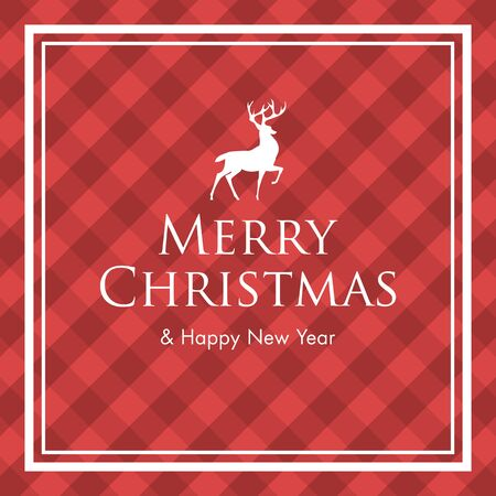 gingham pattern: Christmas card with deer, logo title and gingham pattern background. Editable vector design.