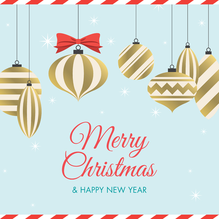Christmas card with christmas balls, red ribbon, stars, and icon title. Editable vector design.