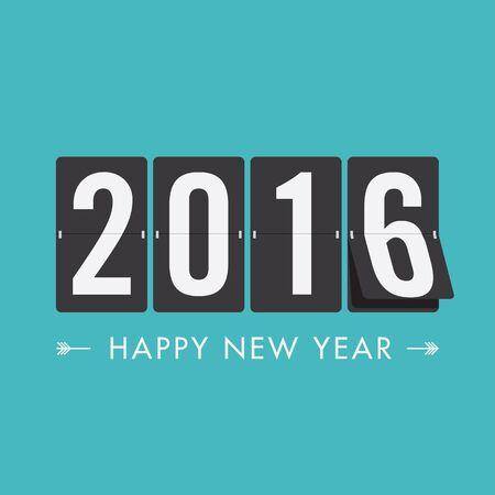 New Year: Szczęśliwego nowego roku 2016 harmonogram, wektorowego projekt