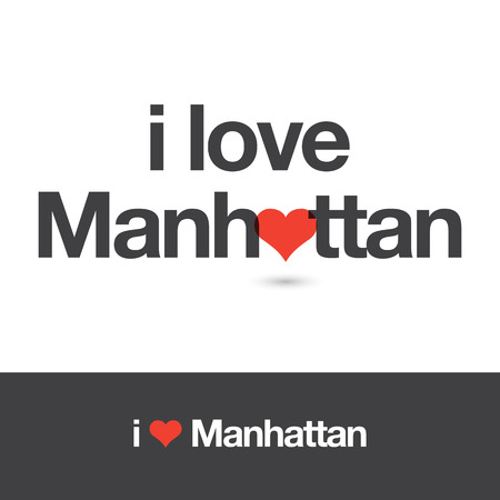 borough: I love Manahattan. Borough of New York city. Editable vector design.
