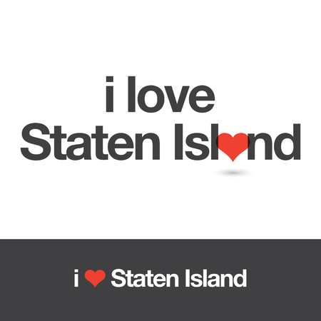 borough: I love Staten Island. Borough of New York city. Editable vector design.