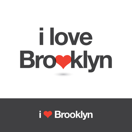 brooklyn: I love Brooklyn. Borough of New York city. Editable vector logo design.