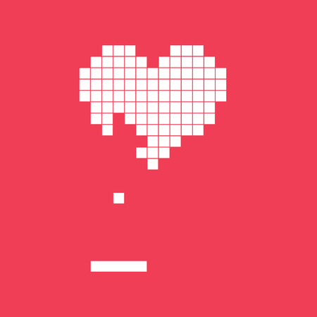 14: Valentines day card. Video game pixel heart. Retro vintage design. Editable vector.