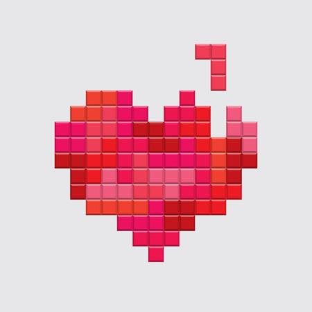 Tarjetas de San Valentín. El video juego de Tetris corazón rojo. El diseño retro de la vendimia. vectorial editable.