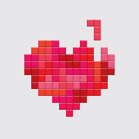 Valentines day card. Video game tetris red heart. Retro vintage design. Editable vector. Çizim