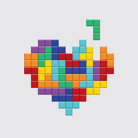 Valentines day card. Video game tetris colorful heart. Retro vintage design. Editable vector. Vectores