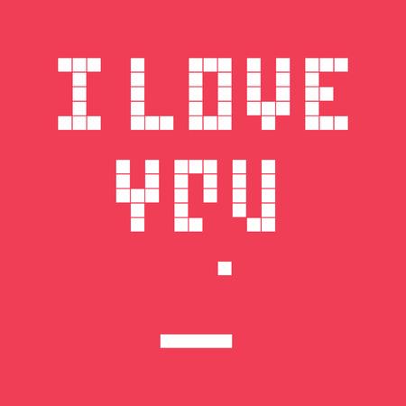 Valentines day card. Video game pixel, i love you text. Retro vintage design. Editable vector. Illustration