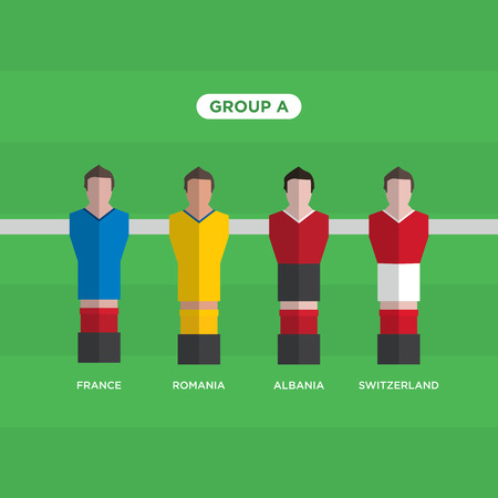 groupe: Table Football (Soccer) players, France 2016, group A .