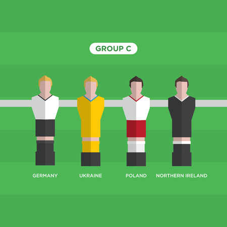 Table Football (Soccer) players, France 2016, group C. Illustration