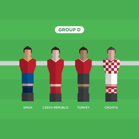 Table Football (Soccer) players, France 2016, group D. Illustration