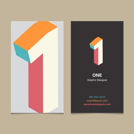 11 number: Logo number 1, with business card template. Vector graphic design elements for company logo.