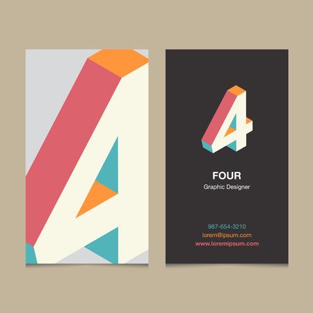 """Numéro de Logo """"4"""", avec le modèle de carte de visite. Vector design graphique éléments pour logo de l'entreprise. Banque d'images - 55657648"""