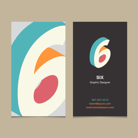 six: Logo number 6, with business card template. Vector graphic design elements for company logo.