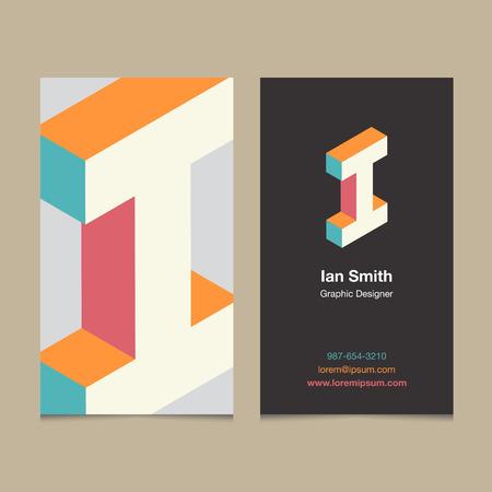 """lettre de l'alphabet Logo """"I"""", avec le modèle de carte de visite. Vector design graphique éléments pour logo de l'entreprise."""