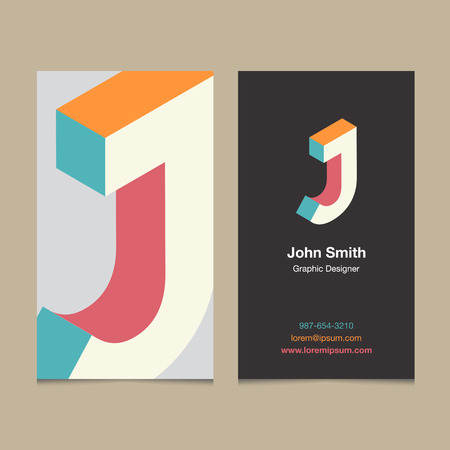 company logo: Logo alphabet letter J, with business card template. Vector graphic design elements for company logo.