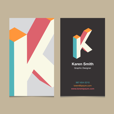 "Logo alphabet letter ""K"", with business card template. Vector graphic design elements for company logo."