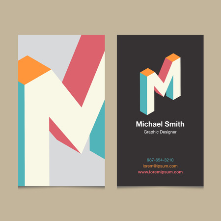 business letter: Logo alphabet letter M, with business card template. Vector graphic design elements for company logo. Illustration