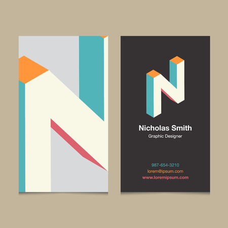 letter alphabet: Logo alphabet letter N, with business card template. Vector graphic design elements for company logo.