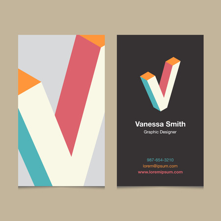"""Logo alphabet letter """"V"""", with business card template. Vector graphic design elements for company logo."""