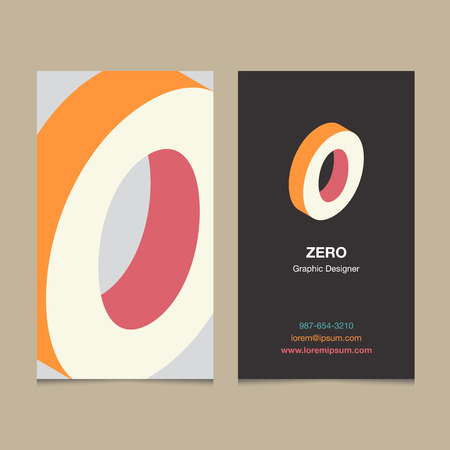 Logo number 0, with business card template. Vector graphic design elements for company logo. 向量圖像