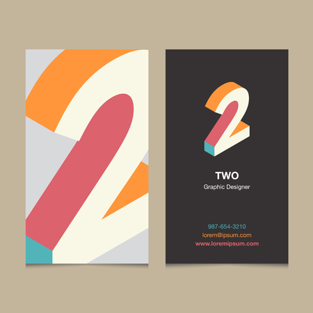 numbers background: Logo number 2, with business card template. Vector graphic design elements for company logo. Illustration