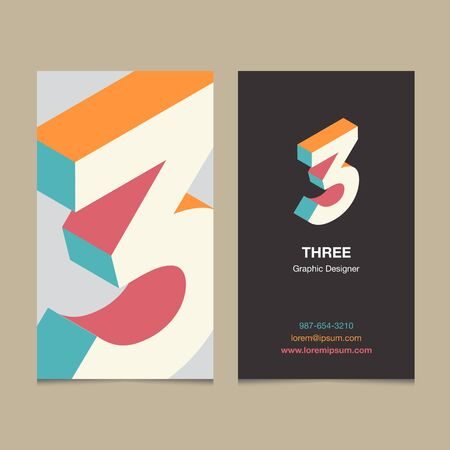 thirteen: Logo number 3, with business card template. Vector graphic design elements for company logo.