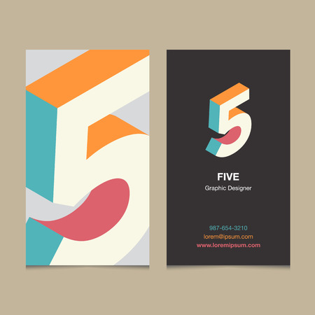 Logo number 5, with business card template. Vector graphic design elements for company logo.