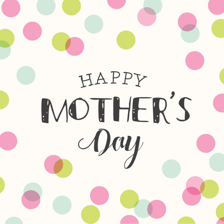 mother day: Happy mothers day card, polka dots pattern background. Editable logo vector design.