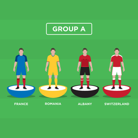 groupe: Table Football (Soccer) players, France Euro 2016, group A. Editable vector design.