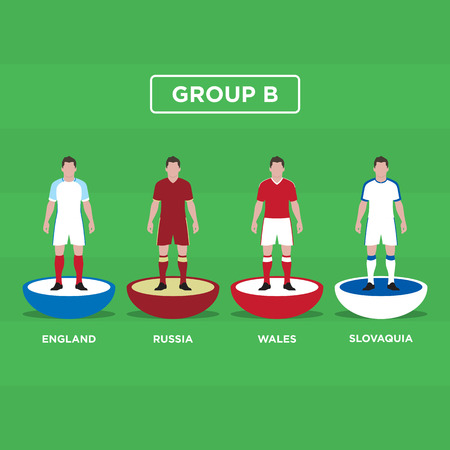 groupe: Table Football (Soccer) players, France Euro 2016, group B. Editable vector design.