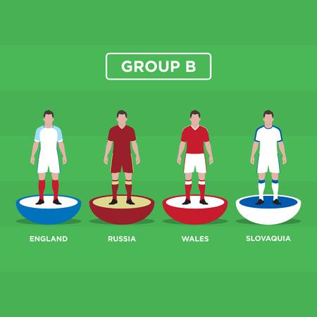 group b: Table Football (Soccer) players, France Euro 2016, group B. Editable vector design.