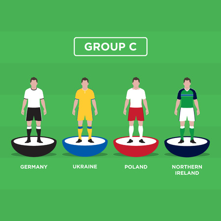 groupe: Table Football (Soccer) players, France Euro 2016, group C. Editable vector design.