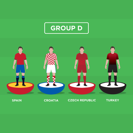 groupe: Table Football (Soccer) players, France Euro 2016, group D. Editable vector design.