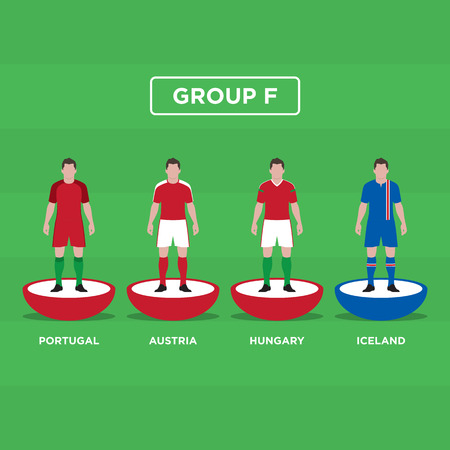 groupe: Table Football (Soccer) players, France Euro 2016, group F. Editable vector design.