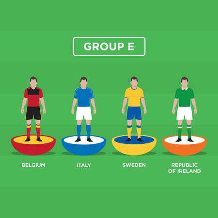 groupe: Table Football (Soccer) players, France Euro 2016, group E. Editable vector design.