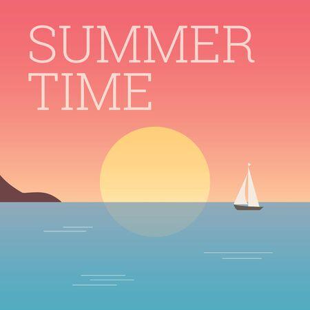 summertime: Landscape sunset, summertime title. Editable vector design.