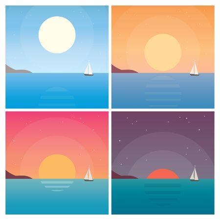 voilier ancien: Ensemble de paysage coucher de soleil. dessin vectoriel éditable. Illustration