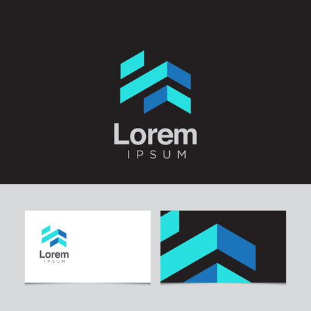 blue roof: design elements with business card template. Vector graphic design elements for company .