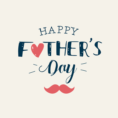 happy fathers day card: Happy fathers day card with icons heart and mustache. Editable vector design.