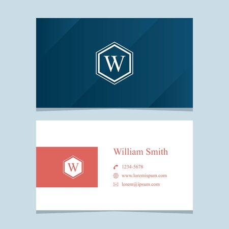 """alphabet letter """"W"""", with business card template. Vector graphic design elements for company . Vetores"""