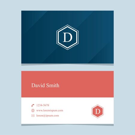 business letter: alphabet letter D, with business card template. Vector graphic design elements for company .