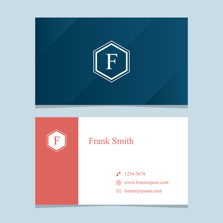 """alphabet letter """"F"""", with business card template. Vector graphic design elements for company . Vektorové ilustrace"""
