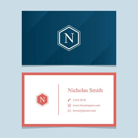 business card template: alphabet letter N, with business card template. Vector graphic design elements for company .