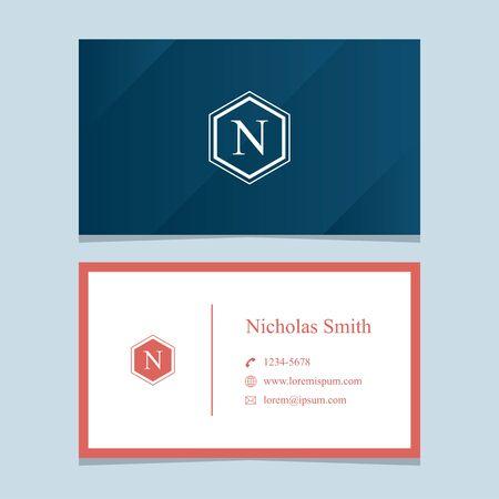 """letra del alfabeto """"N"""", con la tarjeta de visita. Vector de elementos de diseño gráfico para la empresa."""