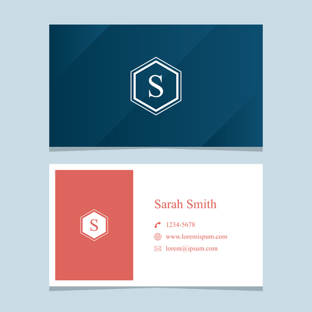 business card design: alphabet letter S, with business card template. Vector graphic design elements for company .