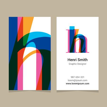 """Lettre de l'alphabet de logo """"h"""", avec le modèle de carte de visite. Éléments de design graphique vectoriel pour le logo de l'entreprise."""