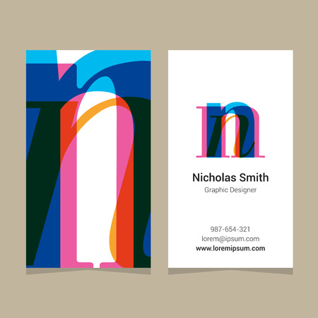"""Logo alphabet letter """"n"""", with business card template. Vector graphic design elements for company logo."""
