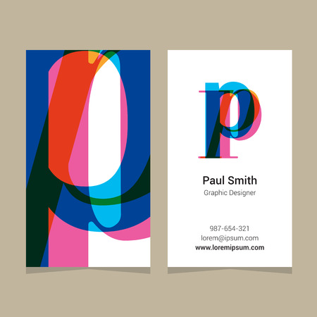 Logo alphabet letter p, with business card template. Vector graphic design elements for company logo. Illustration